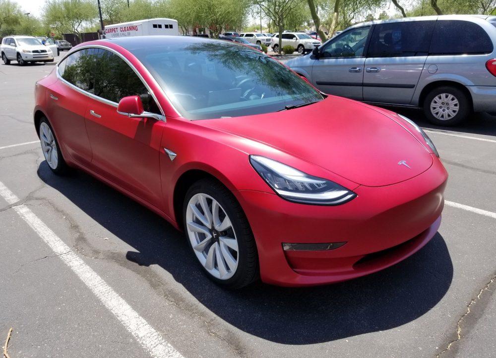 Red Tesla Side Clear Bra Mesa AZ